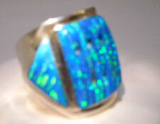 SZ 11 HUGE BRILLIANT BLUE FIRE OPAL MENS Ring!! Sterling Silver 925 $455