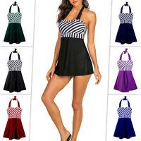 Women Swimdress Plus Size Swimsuit Striped Tummy Control Swimwear Top+Boyshorts