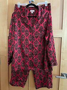 CABERNET Women Pajama Sleep Set  Red Satin Black Accents