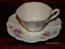 Vintage Child's Ceramic Cup and Saucer Roses and Gold Lots of Crazing.