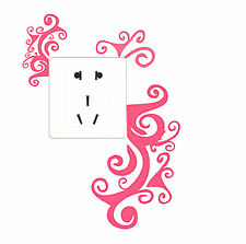 Hand Carving Vine Flower Light Switch Wall Netbook Vinyl Stickers UK