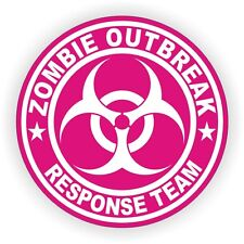 Zombie Outbreak Response Team Hard Hat Sticker - Helmet Label Decal Hot Pink TWD