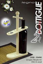 Portabottiglie in legno con due slot di dimensioni 20x42 con decoro margherita