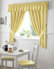 GINGHAM CHECK YELLOW WHITE KITCHEN CURTAINS DRAPES W46  X L42 TIEBACKS INCLUDED