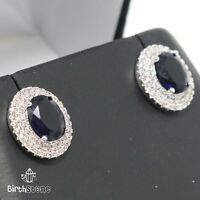 Vintage Oval Blue Sapphire Stud Earrings Women Nickel Free Jewelry Gift