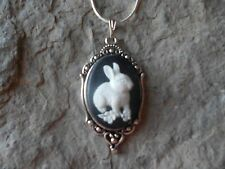 BUNNY RABBIT CAMEO NECKLACE (WHITE ON BLACK)!! .925 SILV. PLATE CHAIN!!! BR3