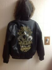 Women's Classic Looney Toons TWEETY Hooded Faux Fur Trim Coat Jacket Sz XS