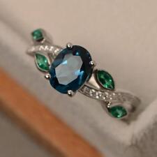 925 Silver Oval Gemstone Wedding Engagement Leaf Ring Xmas Wholesale Size 6-10