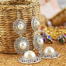 XXL Lange Paar Ohrstecker Ohrringe Silber halbe Perle Steine Neu Indianer 11037