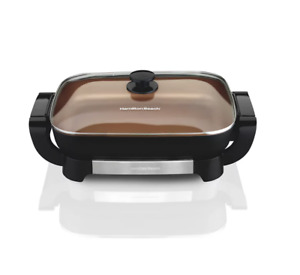 "Hamilton Beach Copper Ceramic Skillet with Removable Pan 7.5""H x 20.5""W x 12.5""D"