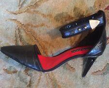 Charles Jourdan  Paris Raven Ankle Strap Black Pumps, 31/4 Heels, Size 8