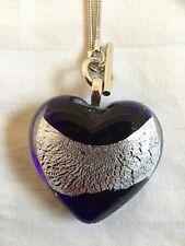 "Murano Navy & Silver Heart Pendant on 18"" Silver Toggle Chain"