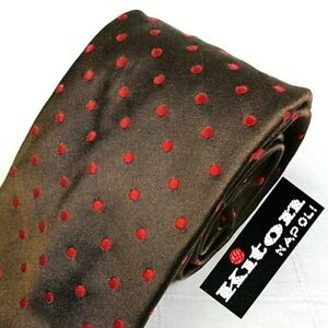 KITON Napoli Glossy Chocolate Brown 100% Silk Neck Tie Wvn Red Polka Dots Italy
