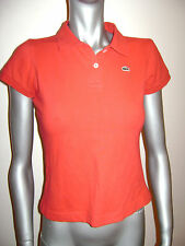 LACOSTE WOMEN TOP POLO SHIRT TEE size 10 LARGE 42 RED COTTON