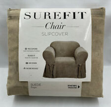 Sure Fit Soft Suede Arm Chair Slipcover - Taupe