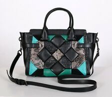 COACH Dk Blk Turq Canyon Quilt Swagger 27 Leather Carryall HANDBAG $595 NEW Tags