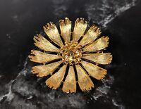 Lovely Vintage Gold Tone 3D Flower Brooch by BSK Jewellery