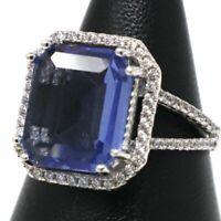 5 Ct Cushion Blue Sapphire Moissanite Ring Women Engagement Anniversary Jewelry