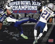 Malcolm Butler New England Patriots Autographed Super Bowl Interception 8x10 B