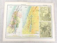1898 Map Of Palästina Alte Israel Jerusalem Antik Viktorianisch 19th Jahrhundert
