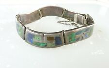 40'S LOS CASTILLOS MEXICAN INLAID JADE, LAPIS AND ONYX STERLING SILVER BRACELET