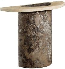 New Venice Dark Brown / Cream & Cappuccino Marble Semi-Oval Console Table