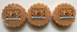 YANKEE CANDLE SUGAR & SPICE TARTS WAX MELTS X 3 HTF BAKING SCENT RETIRED