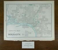 "SIOUX CITY IOWA 1903 Vintage City Atlas Map 14""x11"" Old Antique Original"