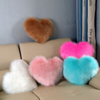 Fluffy Fur Plush Pillow Case Heart Shaped Shaggy Pillow Cover Sofa Home Decor