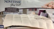 NOVITESSE Federn & Daunen Kassettendecke Decke mit Biese 4 x 6 Karos 135 x 200 c