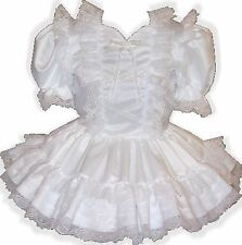 """Angela"" CUSTOM Fit White Satin Lace Adult Little Girl Sissy Dress LEANNE"