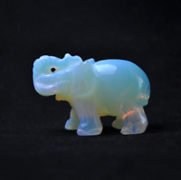 Natural Opal Quartz Carved Elephant Gemstone Stone Crystal Figurine Ornaments
