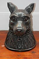BLACK FOREST WOLF HEAD LARGE CARVED TOBACCO JAR BOX
