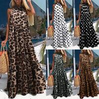 Women Sleeveless Polka Dot Leopard Print Tiered Layered Sundress Long Maxi Dress