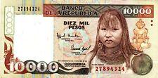 Colombia 10000 (10,000) Pesos 1994 P 437A India Embera Mema AU/UNC Rare S58