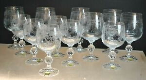 NEW- SET OF (12) BOHEMIA CRYSTAL ETCHED WINE & CORDIAL GLASSES SET