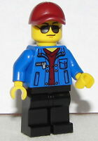 Lego New Minifigure Race Official Dark Red Cap Blue Jacket Race Car Minifig