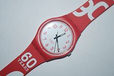 2010 Swatch Watch GR-150 CREAM JAM Promo AMPLIFON Gents Ladies Quartz Swiss RED