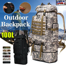 100L Military Tactical Backpack Army Hiking Rucksack Outdoor Camping Travel Bag