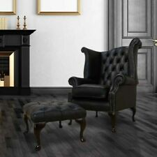Chesterfield Handmade Queen Anne High Back Wing Chair Black Leather + Footstool