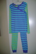 Hanna Andersson purple, blue& green stripes organic cotton pajama set- 140 10 US