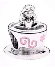 Auténtica plata esterlina Disney Alicia en el país de las maravillas taza de té Fantasyland encanto