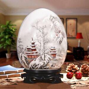 Egg Shape White Snow Design Vase Household Tabletop Decoration Antique Style New