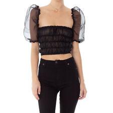 Sexy Woman organza sheer U-neck crop Top short sleeve elastic body Top XS-L 1945