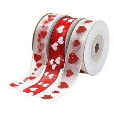 3pcs Organza Printed Love Heart Sheer Ribbon 15mm Gift Wrapping Satin Ribbon