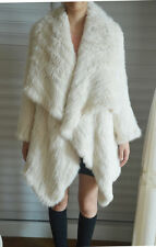 100% Real Genuine Knitted Rabbit Fur Long Jacket Coat Cape Poncho Ladies Vintage
