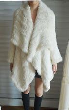 100% Real Genuine Knitted Rabbit Fur Long Jacket Coat Cape Poncho Ladies Vintage