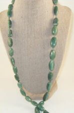 Big Chunky Green Aventurine Necklace, Long hand knotted green gemstone necklace