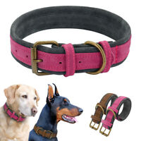 Soft Luxury Genuine Leather Dog Collars for Large Dogs Labrador Rottweiler M L