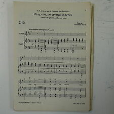 choral / vocal score RING OUT YE CRYSTAL SPHERES geoffrey shaw UNISON